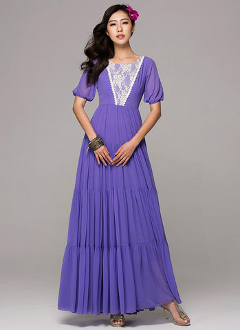 Purple Chiffon Maxi Dress with Tiered Skirt and Gold Gilded Lace Details RM121B