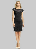 Black Lace Sheath Dress with Open Back and Eyelash Details