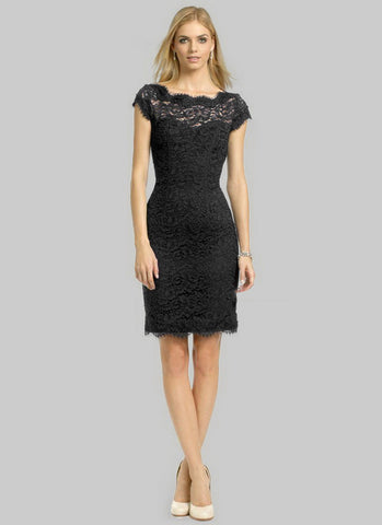 Black Lace Sheath Dress with Open Back and Eyelash Details RD314