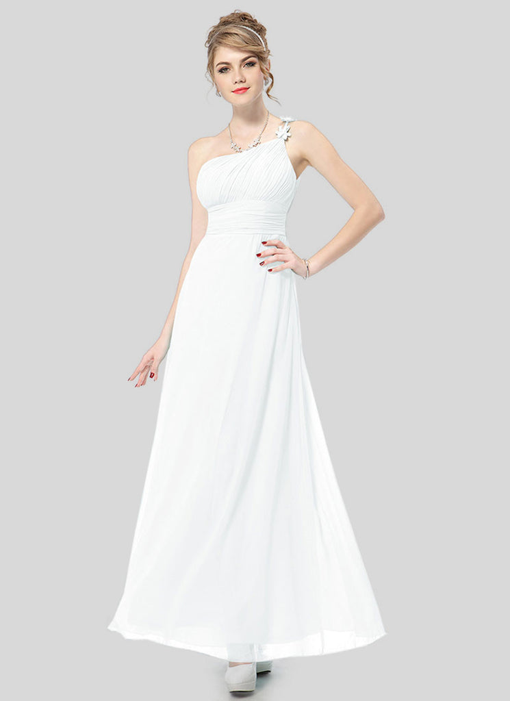 One Shoulder White Maxi Dress with Ruched Top and Waist