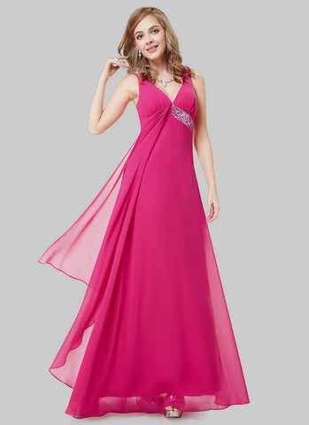 Empire Waisted Fuchsia Evening Dress with Sequin Details RM496
