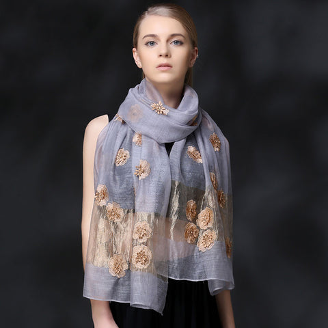 GRAY FLORAL EMBROIDERED MULBERRY SILK SCARF - HANDMADE FLORAL EMBROIDERED SILK SCARF - PINK FLORAL SILK SCARF -2016K1