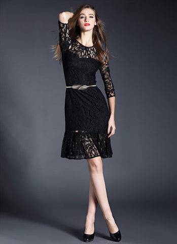 Black Lace Mermaid Mini Dress with Flounce Hem RD359