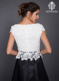Black Mikado Mini Cocktail Dress with White Lace Peplum Top