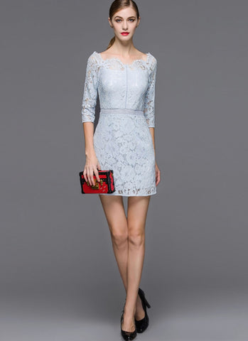 Light Blue Lace Sheath Mini Dress with Scalloped V Neck and Elbow Sleeves MN46