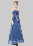 Strapless Pale Blue Maxi Dress with Wide Satin Waist Yoke and Sash