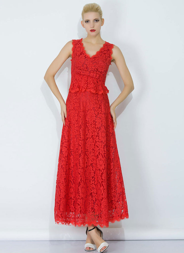 Red Lace Peplum Maxi Dress with Bow Belt and Eyelash Details