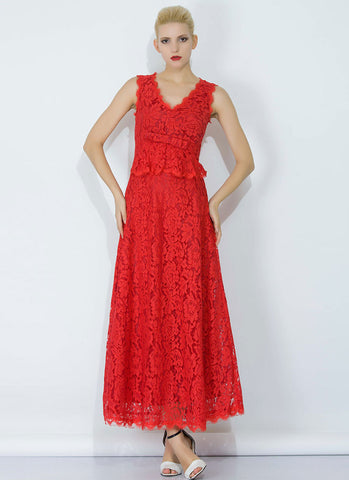 4aacaf66e6e Red Lace Peplum Maxi Dress with Bow Belt and Eyelash Details RM345