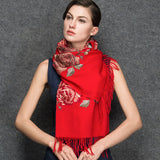 Red Wool Scarf - Lightweight Wool Scarf - Black Wool Embroidery Scarf - WS1