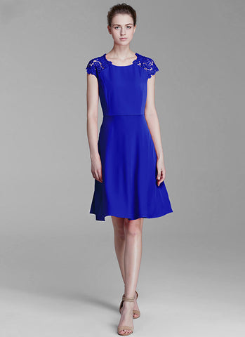 Blue Aline Mini Dress with Lace and Tulle Details MN30