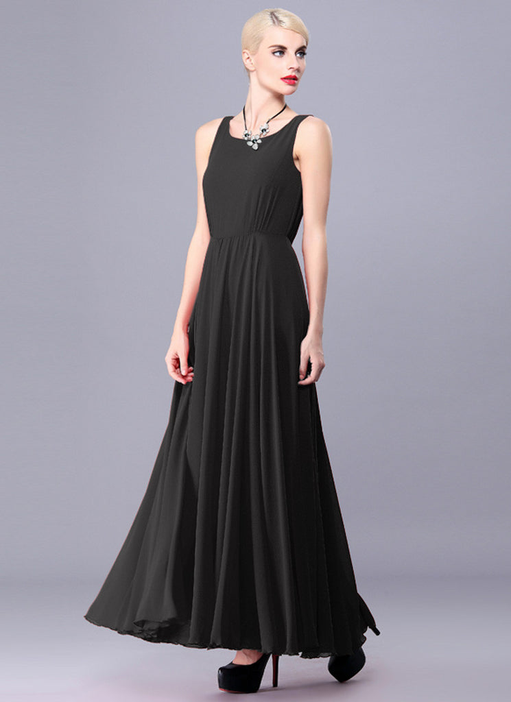 Black Chiffon Maxi Dress with Deep Scoop Back