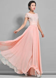 Dusty Rose Pink Lace Chiffon Maxi Dress with Cap Sleeves