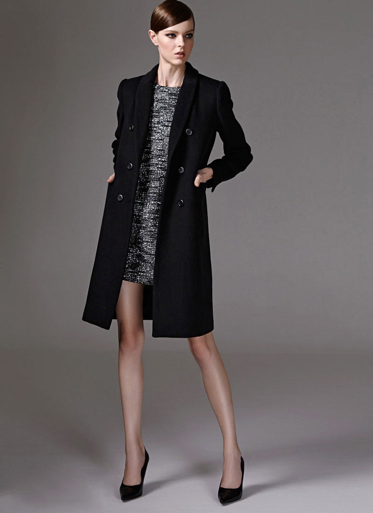 Double Breasted Black Cashmere Wool Coat in Slim Fit Silhouette