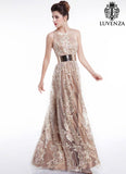 Open Back Champagne Floral Embroidery Floor Length Evening Dress with Wide Hem Crew Neckline and Rhinestone Accent