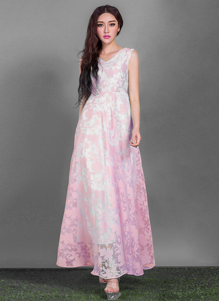 V Neck Light Pink Organza Lace Maxi Dress with Pleated Waist and White Lining