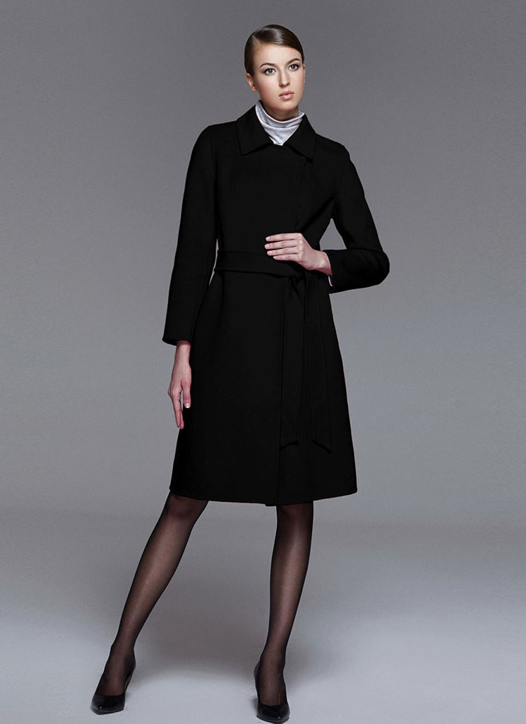 Belted Black Cashmere Wool Coat