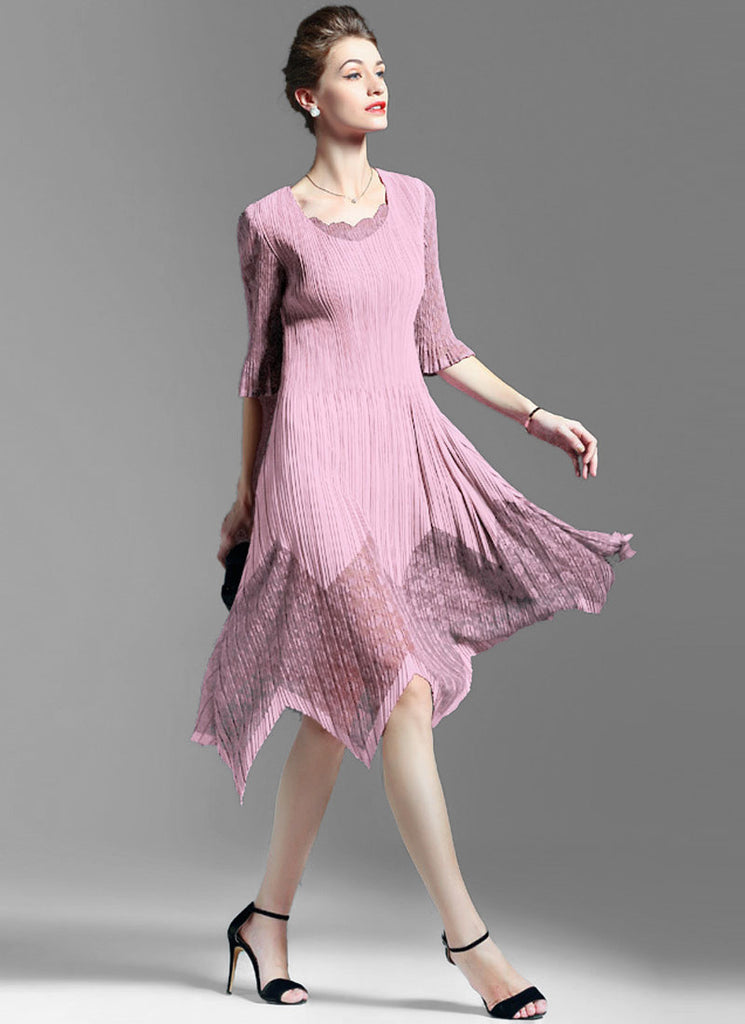 Pleated Pink Lace Chiffon Midi Dress with Asymmetric Skirt and Layered V Neck