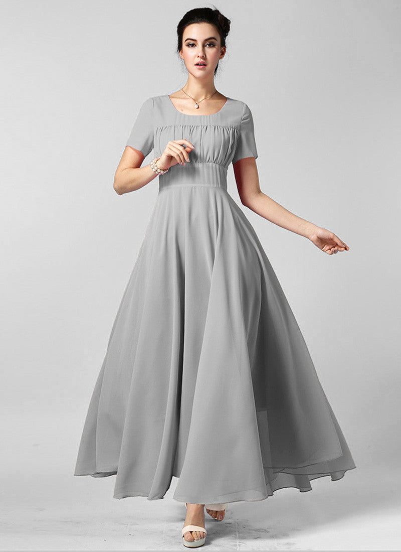 e8faa3ac85f Light Gray Maxi Dress with Ruffled Top and Wide Waist Yoke RM608 ...