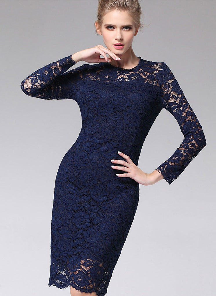 Long Sleeve Navy Lace Sheath Mini Dress with Bow Embellishment RD387 ...