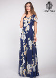 Dark Blue Chiffon Maxi Length Evening Dress with Large White Floral Print