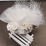 Bridal Fascinator - Tulle Bridal Headpiece with Rhinestone and Pearl Embellishment - Floral Fascinator HP2