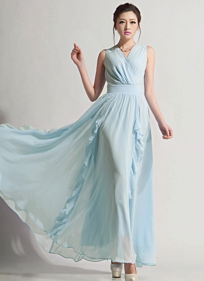 282780bf8 V Neck Light Blue Maxi Dress with Pleated Waist Yoke and Drape Flounce on  Skirt