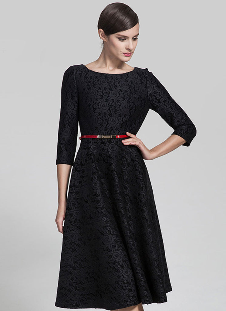 Elbow Sleeve Blue Lace Midi Dress With Scalloped Hem And Eyelash