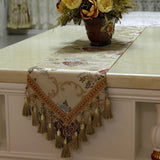 Retro Style Table Runner with Crochet Edge and Fringes TR7E