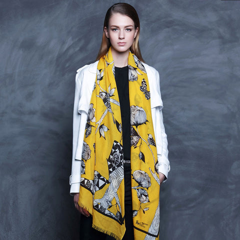 Yellow Floral Wool Scarf - Lightweight Floral Wool Scarf - Yellow Wool Scarf - WS2