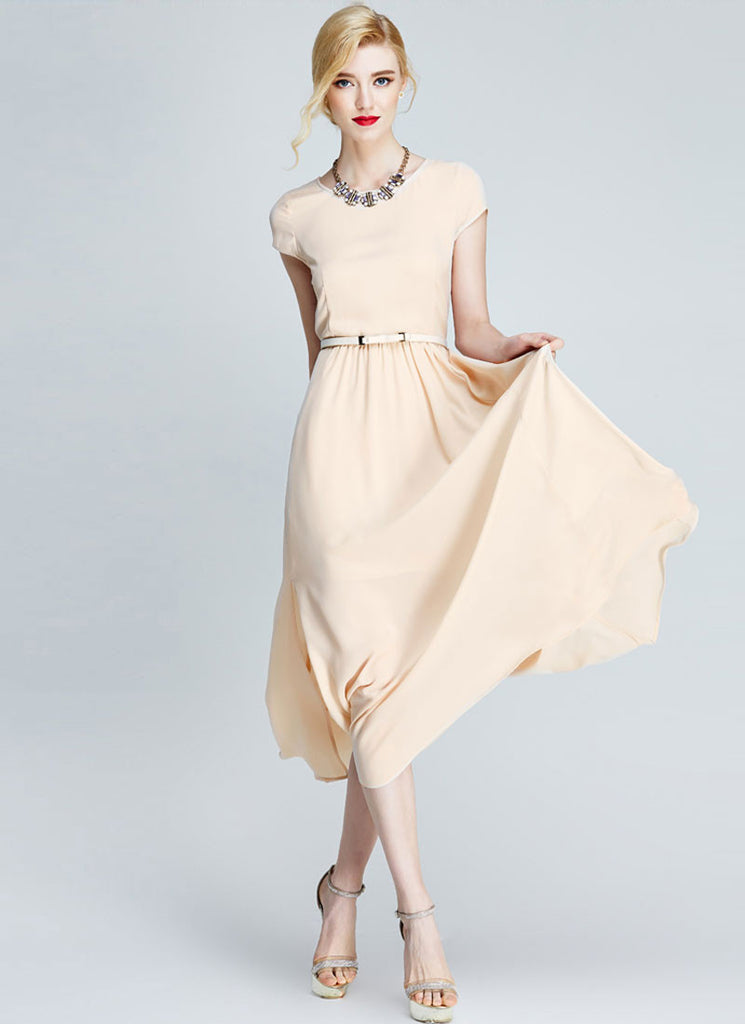 Light Nude Chiffon Midi Dress with Cap Sleeves and Side Slit