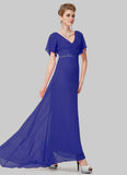 Empire Waisted Sapphire Blue Maxi Dress with Flutter Sleeves