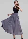 Black and Purple Maxi Dress with Queen Ann Neck RM407