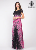 Short Sleeve Black Chiffon Eveneing Maxi Dress with Pink Flower Print