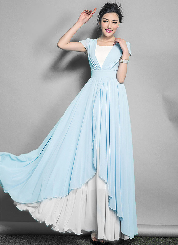 White Maxi Dress with Light Blue Asymmetric Overlay