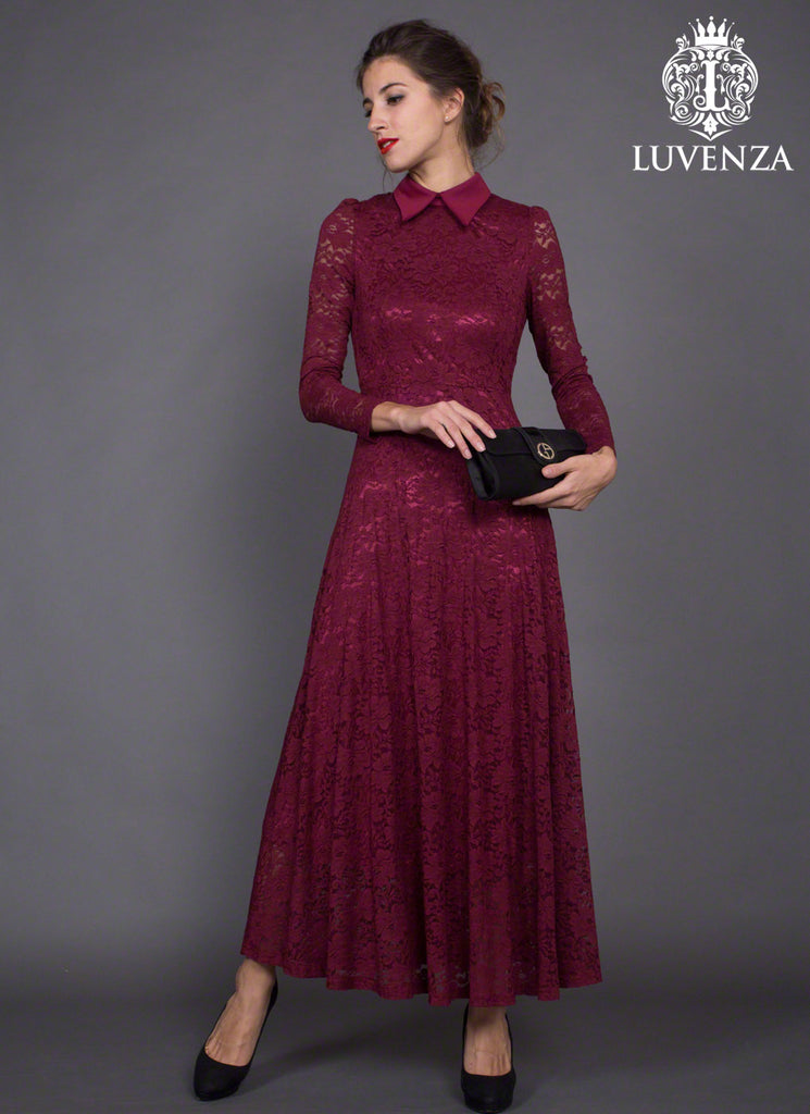 e7f242c3191 Long Sleeve Maroon Lace Maxi Dress with Shirt Collar – RobePlus
