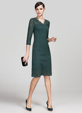 V Neck Dark Green Lace Mini Dress with Three Quarter Sleeves and Scalloped Hem MN34
