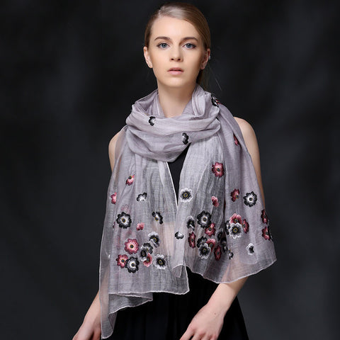 GRAY FLORAL EMBROIDERED MULBERRY SILK WOOL-BLEND SCARF - HANDMADE FLORAL EMBROIDERED SILK WOOL-BLEND SCARF - FLORAL EMBROIDERED SILK WOOL-BLEND SCARF - 2016P1