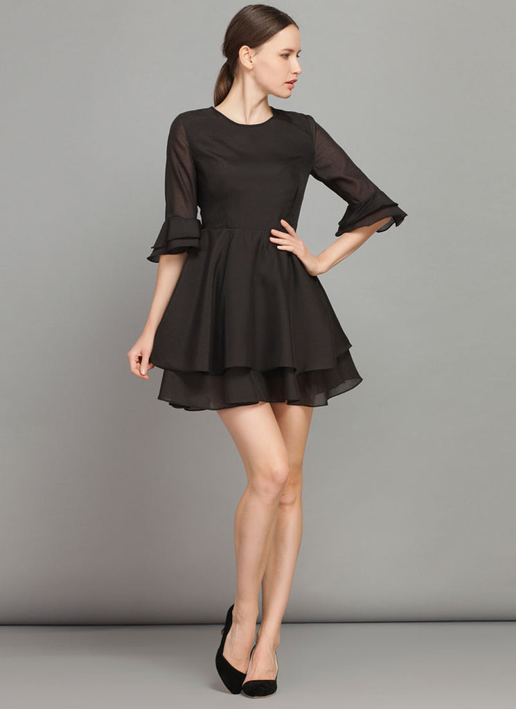 Black Fit and Flare Mini Dress with Trumpet Sleeves
