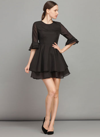 Black Fit and Flare Mini Dress with Trumpet Sleeves RD381