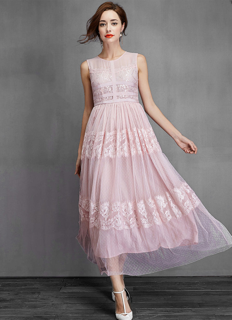 Pink Lace Tulle Maxi Dress with Banded Bodice