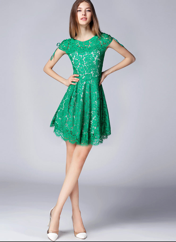 Green Lace Mini Fit and Flare Dress with Scallop and Eyelash Hem and V Back