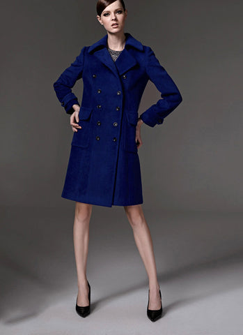 Double Breasted Navy Blue Cashmere Wool Coat RB105