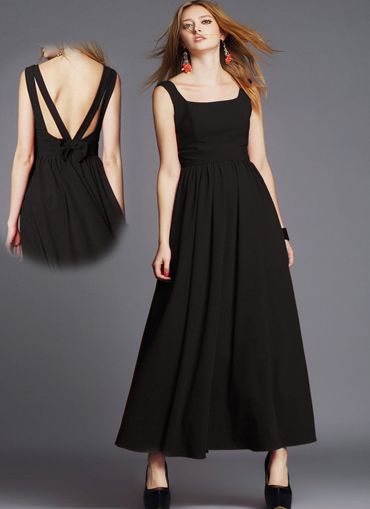 Backless Black Chiffon Maxi Dres with Bow Embellishment
