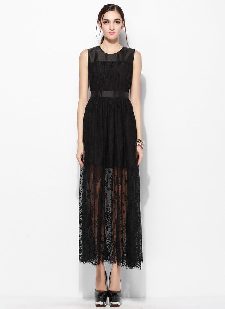 Sleeveless Black Lace Maxi Dress with Scalloped Hem and Satin Top