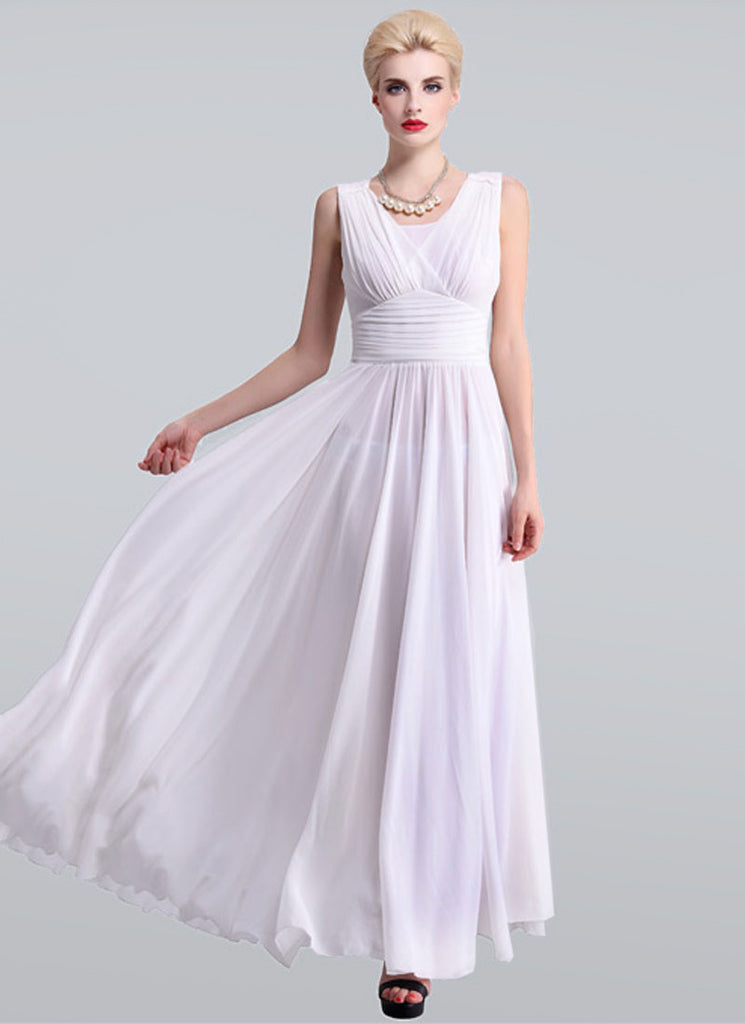 White Maxi Dress with V Neck and Wide Ruched Waist Yoke