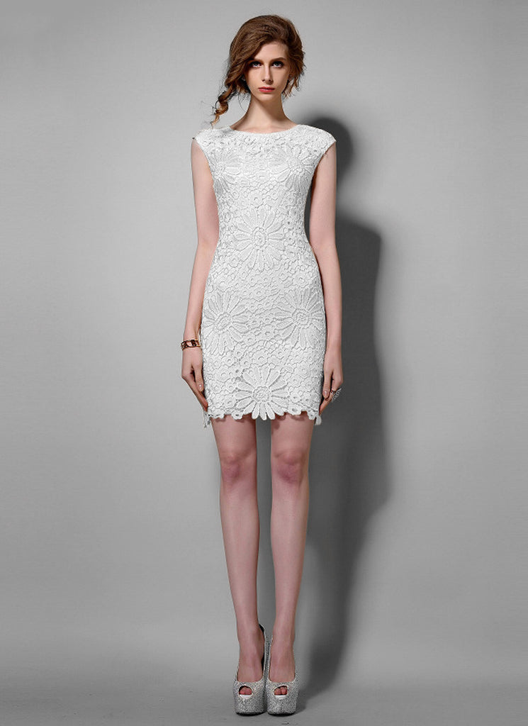 Sunflower White Lace Sheath Mini Dress with Floral Scalloped Hem