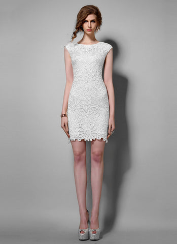 Sunflower White Lace Sheath Mini Dress with Floral Scalloped Hem RD613
