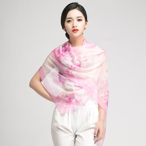 Light Baby Pink Silk Scarf with Subtle Floral Print - Large Pink Floral Silk Georgette Scarf Shaw - PS3-5