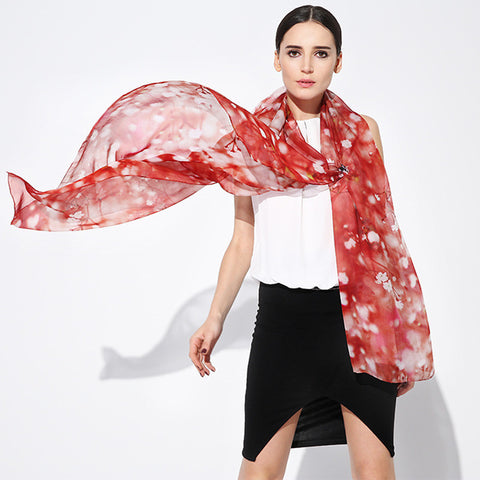 Digital Printed Silk Chiffon Scarf - Red Silk Scarf with Cherry Blossom Floral Print - PS2-5