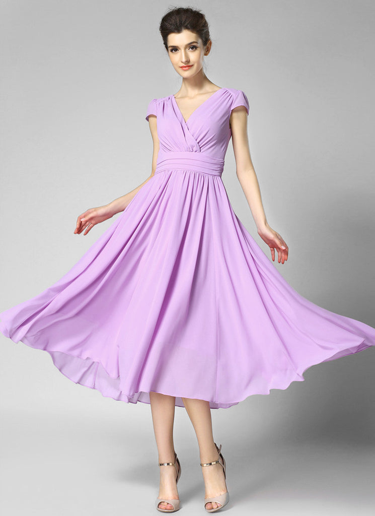 V Neck Thistle Midi Chiffon Dress with Cap Sleeves and Ruched Waist Yoke